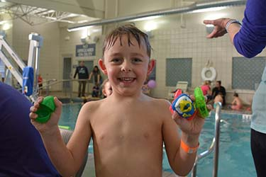 A boy at the Tidelands HealthPoint Egg Dive event