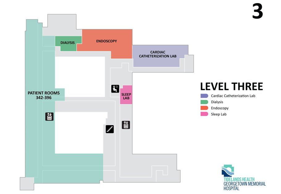 A map showing the third floor of Tidelands Georgetown.