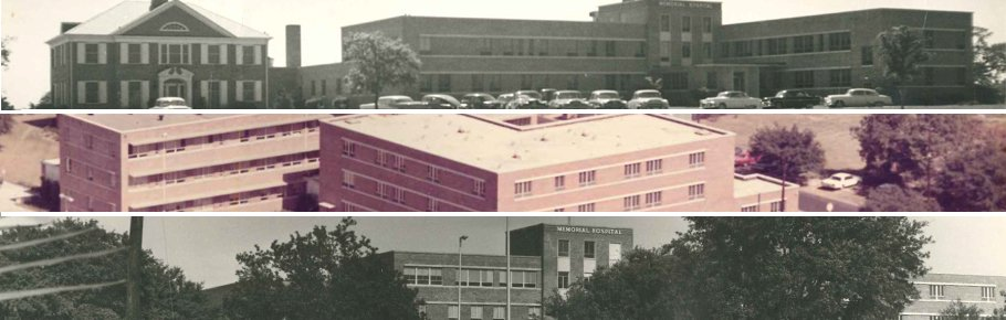 A series of three images showing Tidelands Georgetown Memorial Hospital in its early stages.