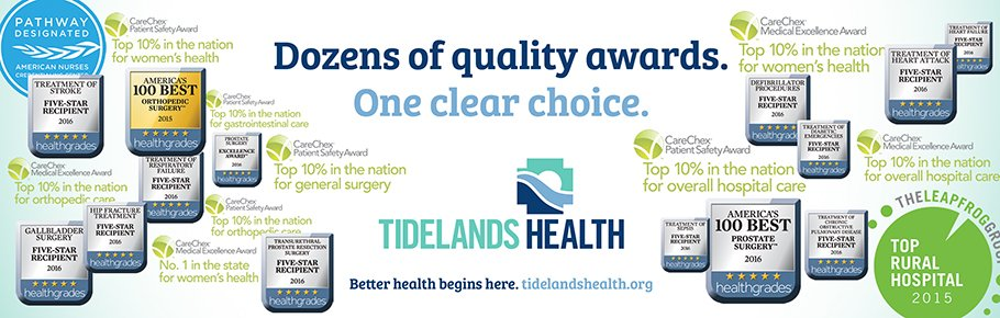 A banner showcasing the numerous awards and achievements Tidelands Health has acquired for health and safety.