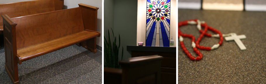 A series of photos depicting the chapels of Tidelands Health.