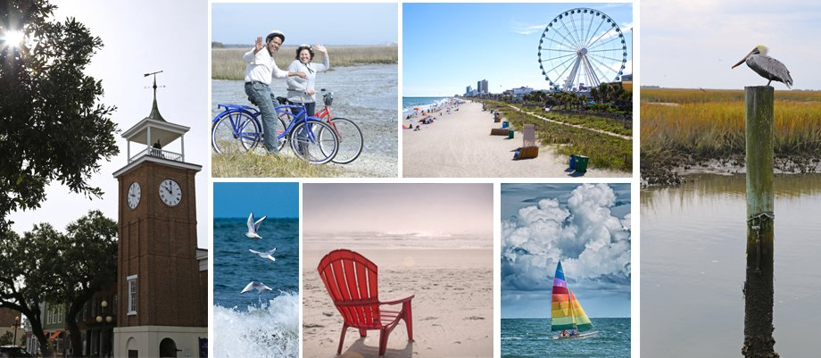 A montage of scenic images of Georgetown and Horry counties