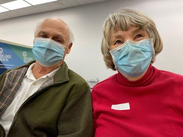 Thomas and Charlene Leonard are happy after receiving their second dose of the Pfizer vaccine from Tidelands Health.