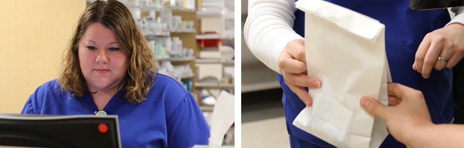 A Tidelands Health pharmacy employee assists a customer.