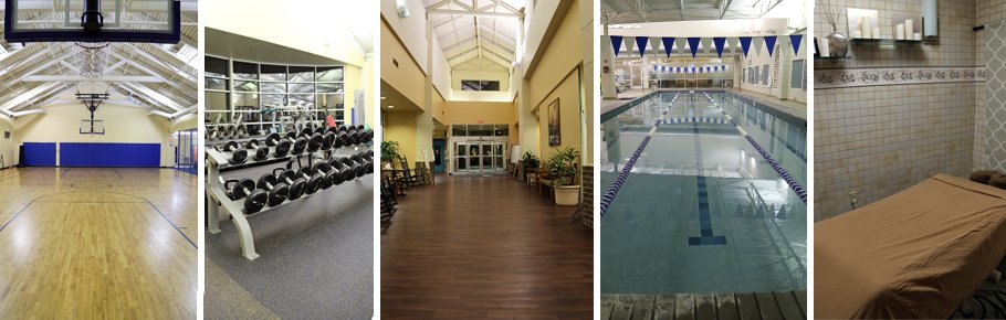 A series of photos showing the basketball court, the weights, entrance, swimming pool and spa room of Tidelands HealthPoint.