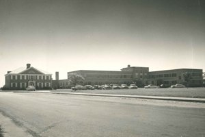 A black and white image of Tidelands Georgetown Memorial Hospital during the 1960s.
