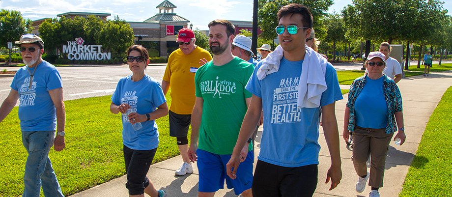 Residents leading a walk with a Tidelands Health program