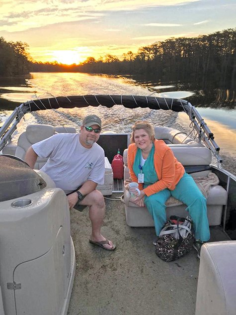 Suzanne Blakely and her husband on a boat.