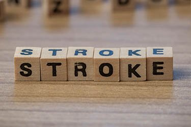 "Wooden cubes spell the word ""stroke"""