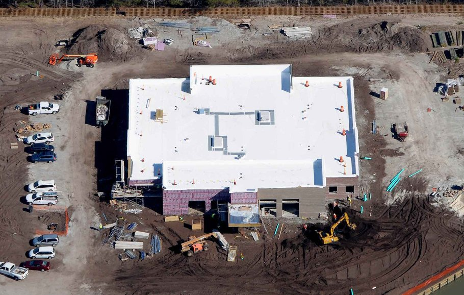 An aerial shot of the family medicine residency center taken in March 2017.