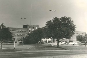 A sepia toned image of Georgetown Memorial Hospital during the 1970s.
