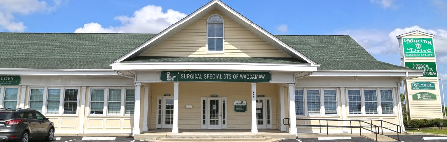 The front entrance of Tidelands Surgical Specialists in Georgetown.