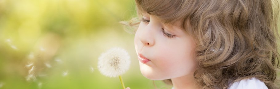 A child with a dandelion to represent allergies.