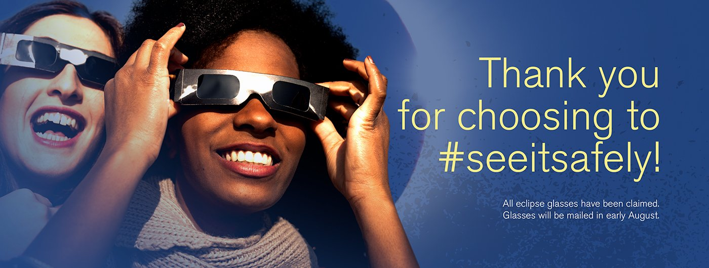 See it safely! Click to order your free eclipse protection glasses from Tidelands Health