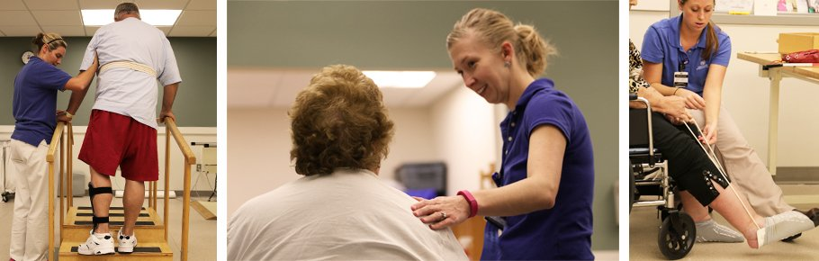 A series of photos depicting Tidelands Health rehab therapists working with patients